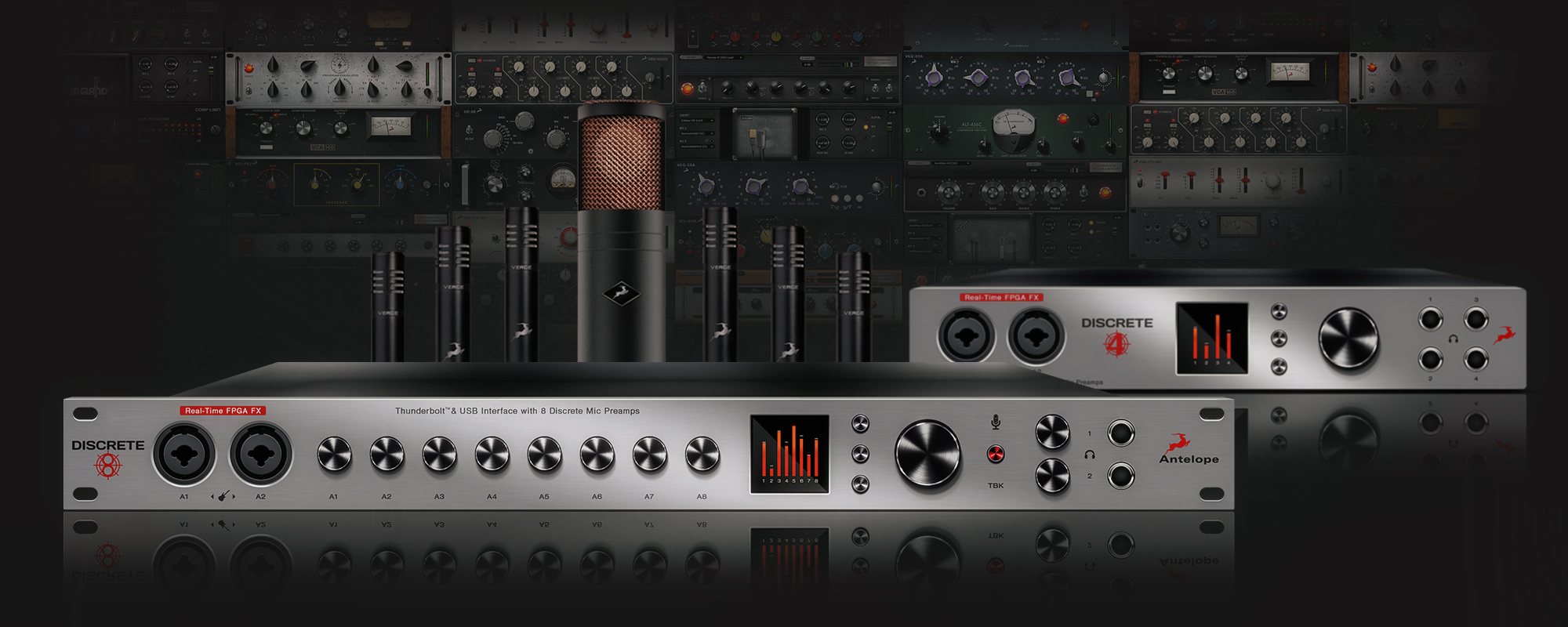 Antelope Audio Announces Discrete 8 Console Grade Mic Preamp The Preamplifier With Dual Recording Interface And Accompanying Modelling Mics