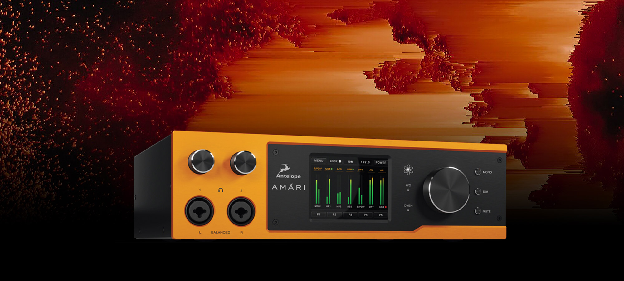 AMÁRI advances Antelope's audiophile conversion capability with 24-bit/384 kHz AD/DA and unique headphone system.