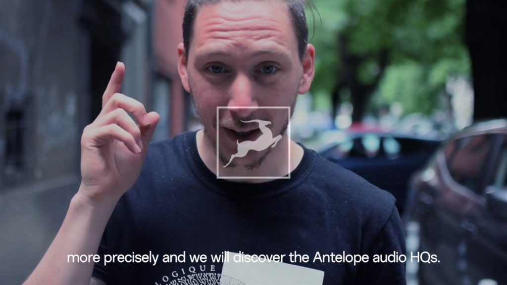 A Man is Talking to the Camera About Antelope Audio's Headquarters